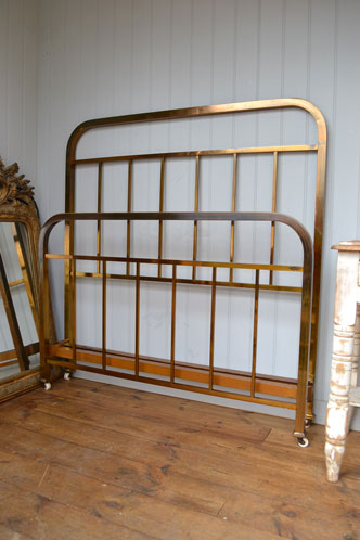 new in french art deco small double brass bed frame with original unpolished patina cleaned and ready to use
